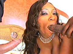 2 on 1 ebony action vids with hot Cherokee