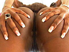 Ebony slut gets her pussy slammed with cock before her tits get splashed in sperm