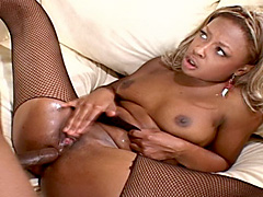 Dark gal sucks and receives anal fuck in fishnet. Vixen Fyre