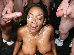 Hot Black Girl Gets Bukkake Face Covered With Cum. Kitten