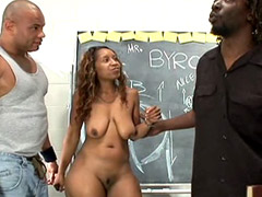 Black guys with huge cocks bang ebony whote on table