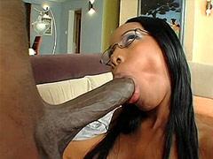 Big black dong assfucked ebony tute and give facial cum