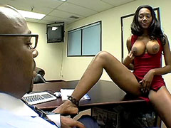 Busty ebony babe tempts her black boss with big cock