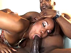 Ebony slut sucks massive black dick and gets fucked