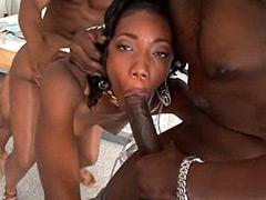 Two black brotha with huge african dicks screws ebony tute