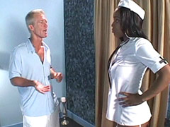 Ebony nurse tempting big white cock and hard fucking