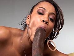 Deep penetration of black big dick in wet ebony pussy