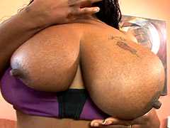 Ebony whore with small and big boobs screws by cock