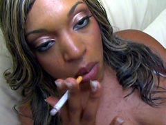 Busty ebony whore smoking and interracial fucked