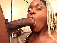 Busty blonde ebony whore gets 24 inch cock in beaver