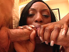 Busty ebony bitch eating snakes and getting dped