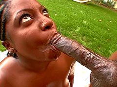 24 inch long big rod penetrated in huge ebony pussy