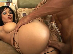 Ebony chick with big tits takes 14 inch big snake