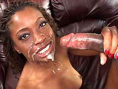 Ebony babe in black stockings gets deepthroat and anal sex