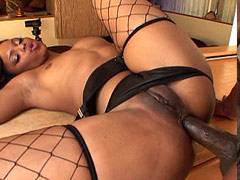 Horny ebony babe in black lingerie gets hardcore anal sex