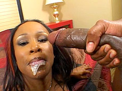 Busty ebony bitch gives blowjob to long black cock and fucking