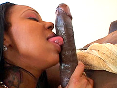 Horny ebony babe eating big long black cock and hardcore fucked