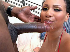 Big african cock drilled cute ebony slut on sofa