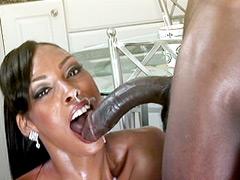 Beauty ebony lady babe suck gigantic black cock and eat cum on kitchen