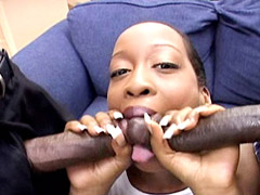 Ebony bitch eating two big black cocks and gets hot spearm