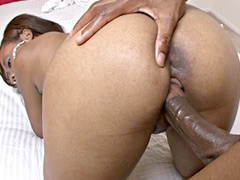 Ebony chick gives handjob and gets hardcore doggystyle sex