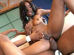 Perfect chubby ebony whores in wild black gangbang orgy action