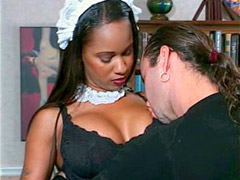 Busty black maid tempts her mister for hardcore sex