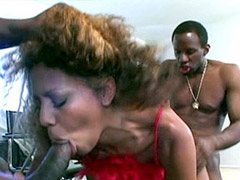 Sexy ebony chick gets two black strong cock