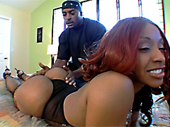 Busty black pornstar Ayana Angel gets banged for pussy creampie