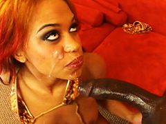 Red haired ebony bitch hotly fucked in tight asshole for facial