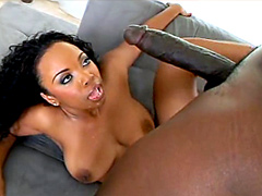 Plump ebony porn star, Ms. Platinum, facial cumshot