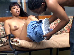 Small tits ebony teen pussy drilled outdoor