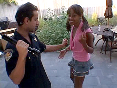 Smiley ebony teen anal screwed by police man