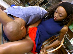 Nice ebony teen Nina Bonnet nailed by strong bald guy