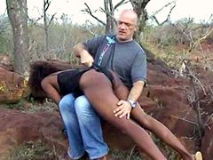 Ebony girl whore getting spanking and riding turnbuckle