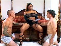 Super big tits ebony model Melodee Bliss in threesome sex video