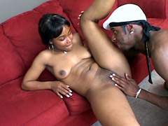 Beauty ebony gal Cail Caramel takes warm jizz on her nice face