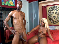 White haired ebony mom met big black cock in her kitchen