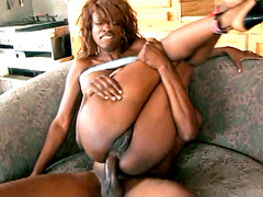 Redhead ebony milf stringing her asshole on huge cock