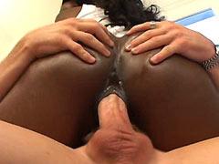 Ebony babe fucking hard interracial group sex