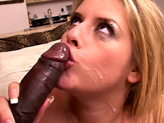 Busty blonde babe gives hot blowjob to big cock and gets interracial sex