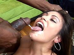 Hungry brunette babe serving big black monster cock