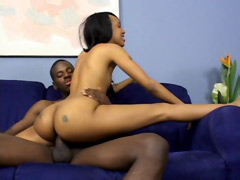 Brotha drilled perfect ebony teen and cum on her ass
