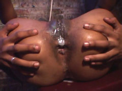 Ebony babe suck big black cock then hard ass drilled and get cum