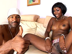 Ebony tute gives blowjob to huge black rod and gets hot creampie
