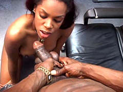 Petite ebony babe exposing small pussy and fucked on bed
