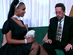 Cute ebony babe with big tits sucking white cock and getting fucked