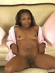 Stunning cock hungry ebony babe with small tits masturbates