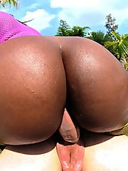 Super fine big round black ass babe gets nailed hard in her hot box in these poolside wet fuck pics