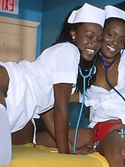 Two naughty nubian nurses getting..